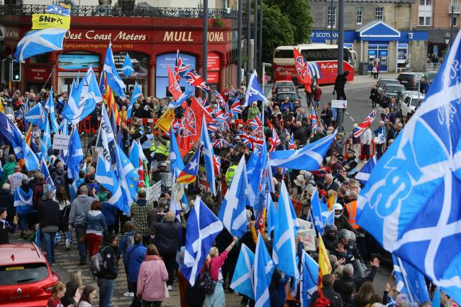 Thousands turned out for the All Under One Banner march in Oban on Saturday. Photograph: Colin Mearns