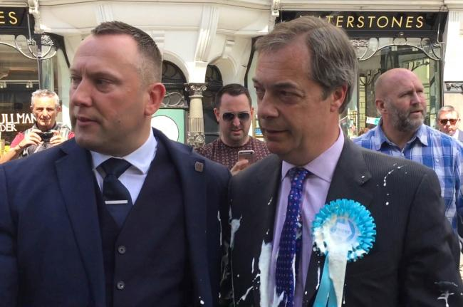 Nigel Farage had a milkshake thrown on him during a campaign walkabout in Newcastle