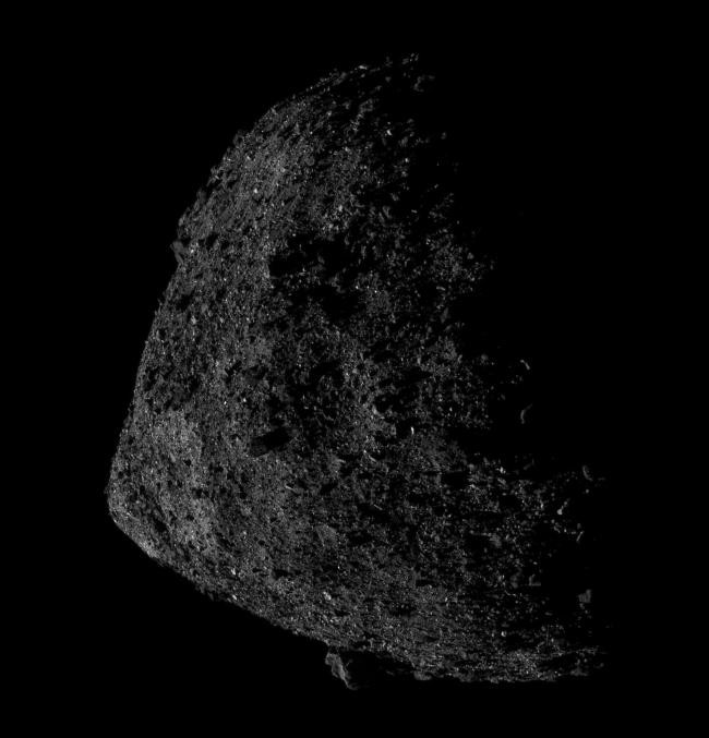 Bennu, a 78 billion kilogram asteroid which makes a close approach to Earth every six years
