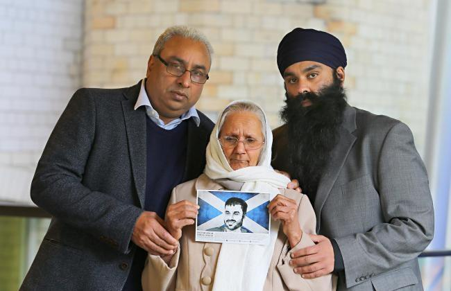 From left: Jasbir Singh Johal, father of Jagtar, Palbinder Kaur, grandmother of Jagtar and Gurpreet Singh Johal, brother of Jagtar. Photograph: Colin Mearns