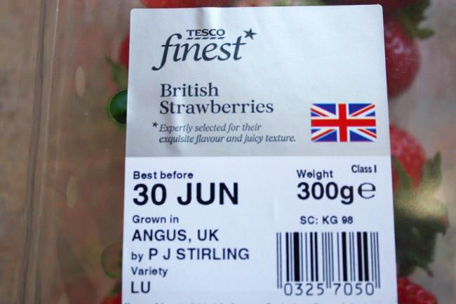 Tesco's strawberries are from 'Angus, UK'
