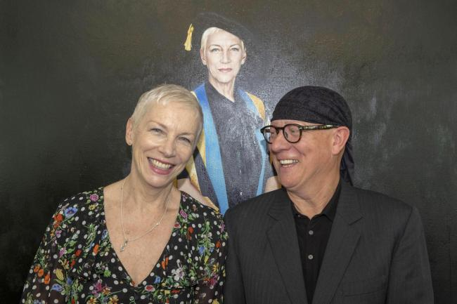 Gerard Burns with singer-songwriter Annie Lennox at the unveiling