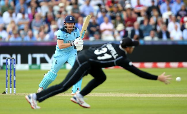 England's Jonny Bairstow and New Zealand's Martin Guptill during the ICC Cricket World Cup group stage match at Riverside Durham. Photograph: Nigel French