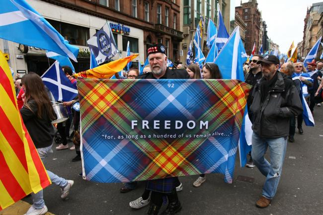 All Under One Banner march for independence from Kelvingrove Park to Glasgow Green. Photograph: Colin Mearns