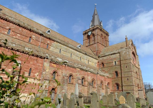 St Magnus Cathedral has the Union flag displayed along with the Norwegian flag