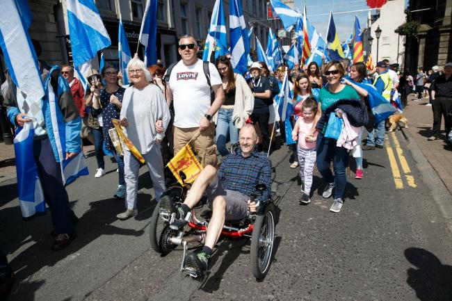 The AUOB march in Ayr was joyful and good-natured, unlike the Orange Walk in Glasgow. Photograph: Robert Perry