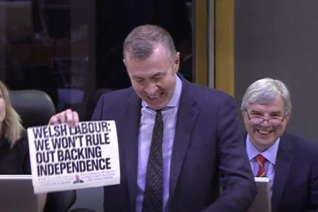 Adam Price held up the front page during FMQs