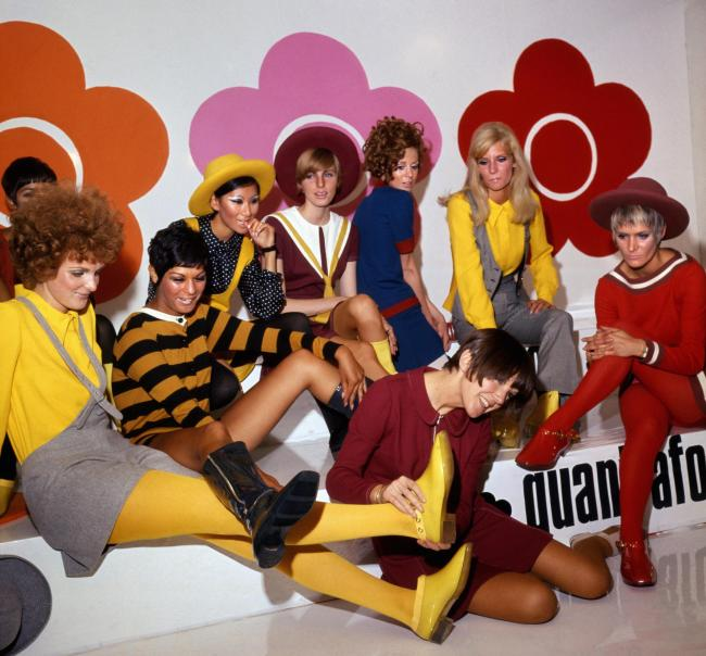 Mary Quant and models at a footwear launch in 1967, which will be part of the new V&A exhibition.