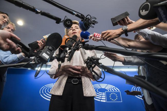 Germany's Ursula von der Leyen answers reporters at the European Parliament in Strasbourg. She has said she's a fan of Nicola Sturgeon. Photograph: Jean-Francois Badias