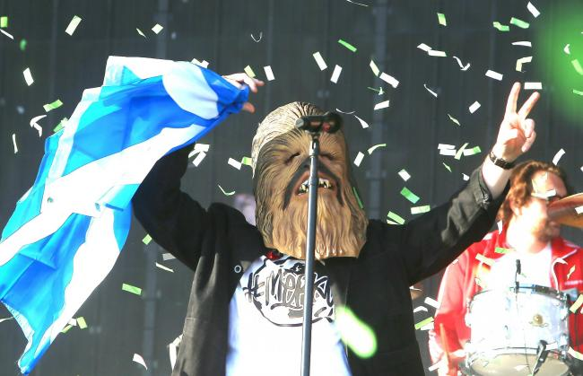 Lewis Capaldi took to the stage at TRNSMT in a Chewbacca mask. Photograph: Gordon Terris