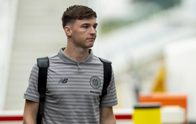 24/06/19.GLASGOW AIRPORT - GLASGOW.Celtic's Kieran Tierney arrives at Glasgow Airport as he prepares to fly out to Austria for their pre-season training camp.
