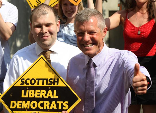 Mark McGeever with Willie Rennie in Edinburgh after defecting to the Scottish LibDems. Photograph: Gordon Terris