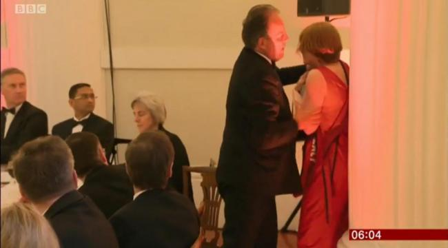 Tory MP Mark Field grabbed protester Janet Barker Photograph: BBC