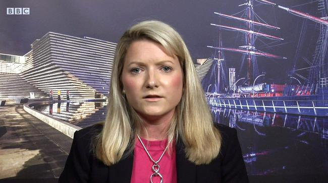 BBC Newsnight interview of.the Tory MP for Angus, Kirstene.Hair.