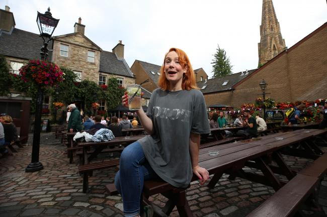 Fringe comedian Sara Barron at her favourite Edinburgh pub The Pear Tree. Photograph: Gordon Terris