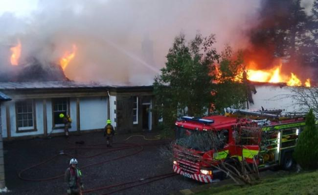 Firefighters tackle the blaze at the Boleskine house fire