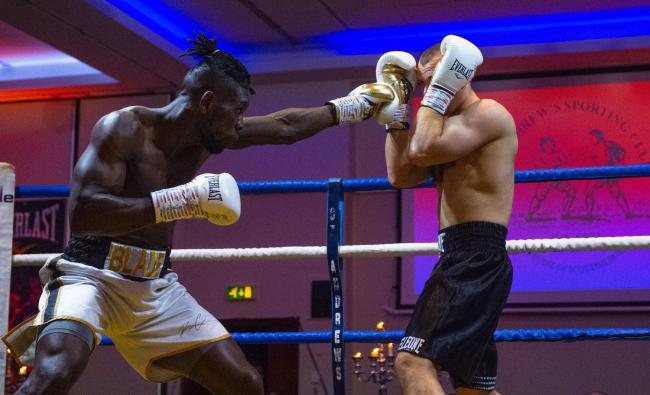Boris Crighton in action in April against Gennady Sherman