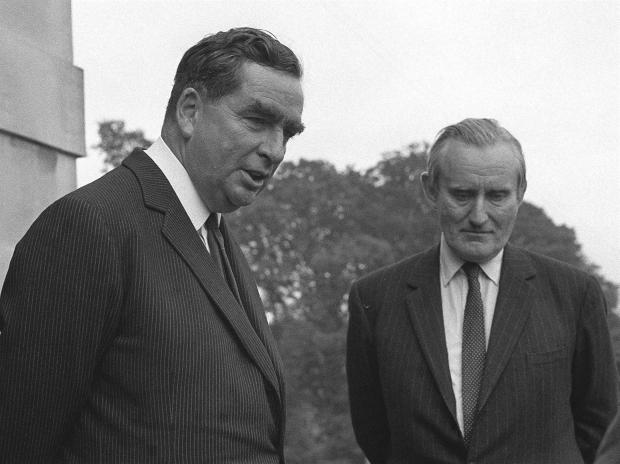 The National: Denis Healey, Britain's Defence Minister (left), and Major James Chichester-Clark, Northern Ireland Prime Minister, at Stormont Castle, Belfast
