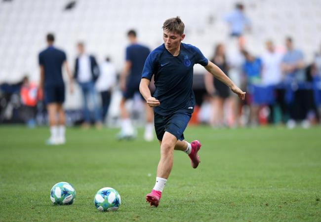 Billy Gilmour trains with Chelsea before the UEFA Super Cup final in Istanbul this week. Picture: Michael Regan/Getty Images.