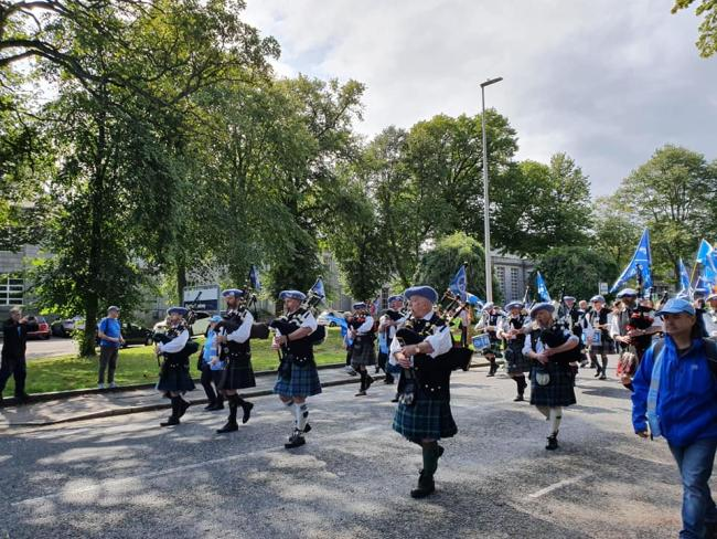 The Saor Alba Pipe Band led the march Photograph: AUOB