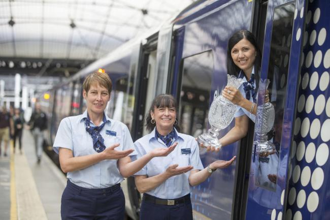 Supporting SC19 fans from across Scotland to travel to the 2019 Solheim Cup in Gleneagles, ScotRail staff: Janet Crhistie, Val Prior and Marta Skowyra