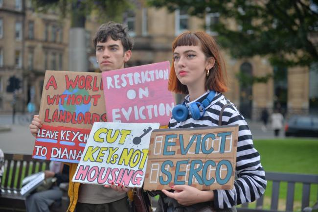 Living Rent held a 'lock-in' protest at Glasgow City Chambers
