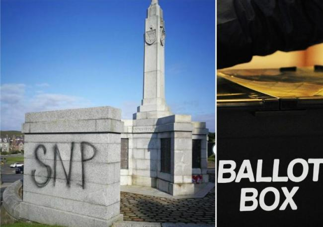 'SNP' graffiti on Shetland war memorial sparks anger amidst byelection