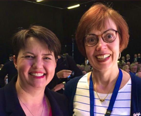 Scottish Tory leader Ruth Davidson (left) next to Jane Lax