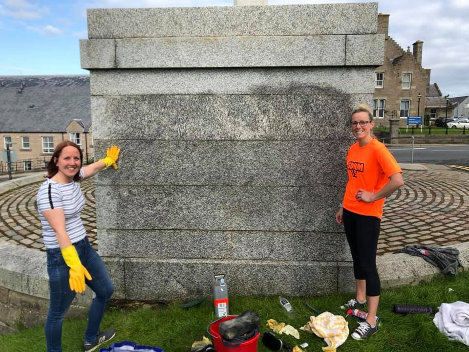 Shetland: Volunteer on why she cleaned the war memorial graffiti
