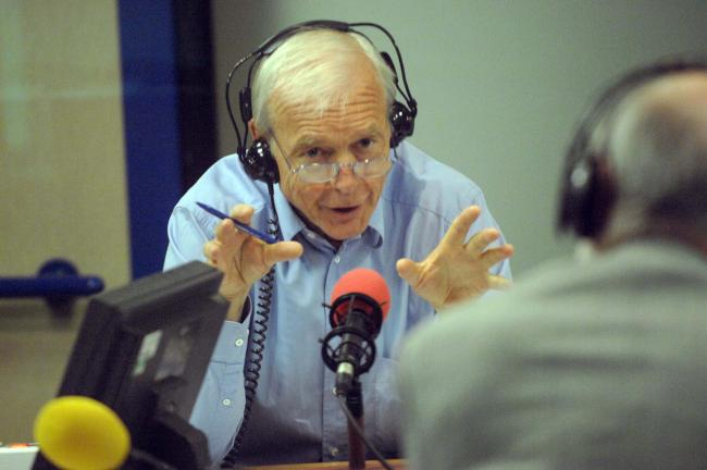 John Humphrys, in the radio studio, during a broadcast of Today, the flagship programme on BBC Radio Four.
