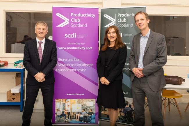 Minister Ivan McKee at the launch with programme manager Ashleigh McCulloch and the SCDI's Gareth Williams