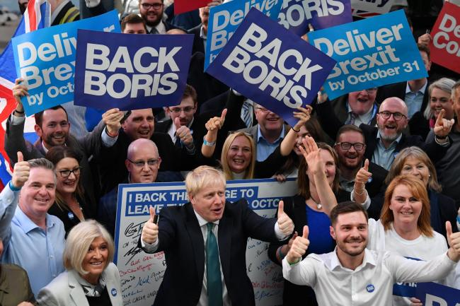 Boris Johnson in Perth during his leadership election campaign