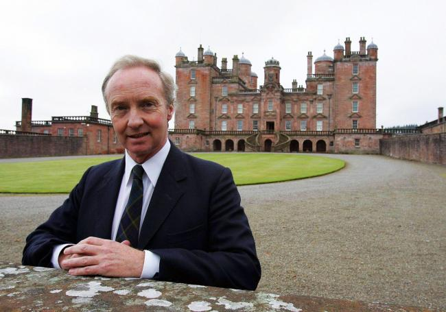 The Duke of Buccleuch outside Drumlanrig Castle following the recovery of a £15m Leonardo da Vinci painting, The Madonna With The Yarnwinder, which was stolen the castle four years ago. PRESS ASSOCIATION Photo.  Picture date: Friday October 5