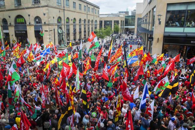 The end of the Wales independence march organised by AUOB Cymru