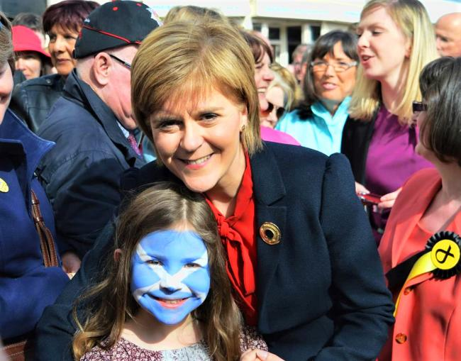 Nick Morton-Grant's daughter Toni pictured with Nicola Sturgeon at a Yes Largs event on September 18, 2014