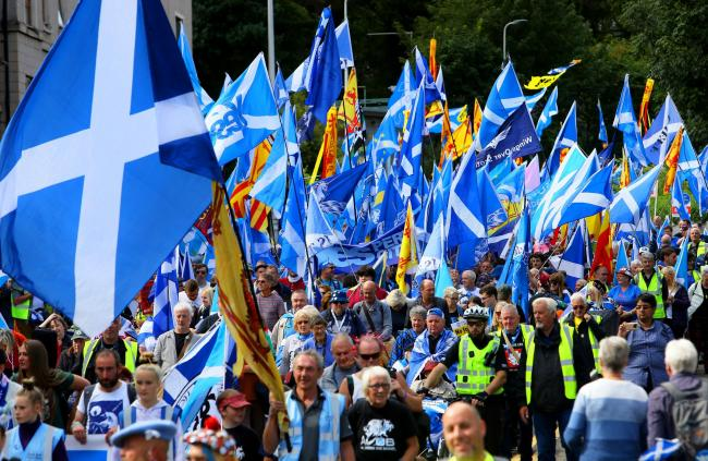 The All Under Banner march for independence in Perth was not covered by the BBC. Photograph: Colin Mearns