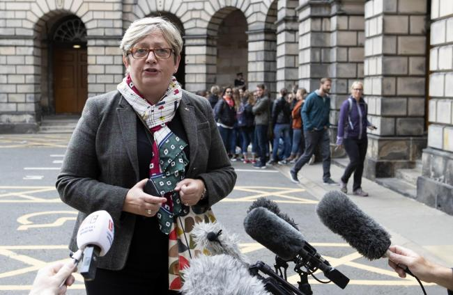 Joanna Cherry outside the Court of Session in Edinburgh