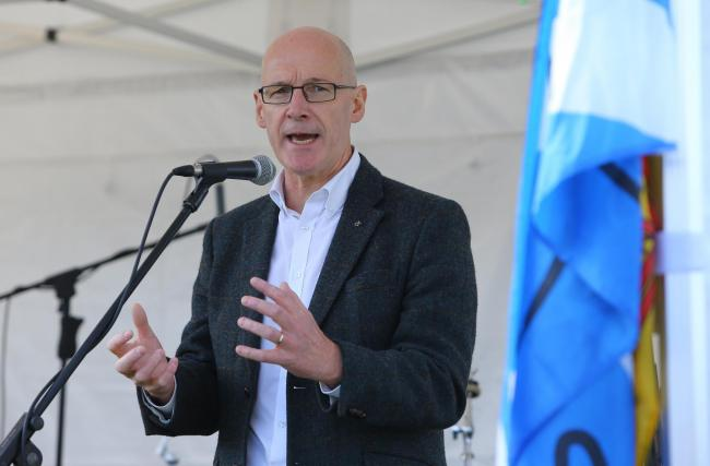 Deputy First Minister John Swinney MSP addresses the crowd during an independence rally
