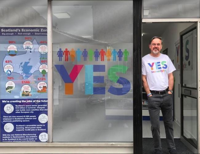 SNP MP Ronnie Cowan at the Yes Inverclyde shop, which he opened in 2014