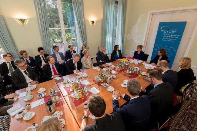 Nicola Sturgeon during her roundtable discussions with the German Council on Foreign Relations