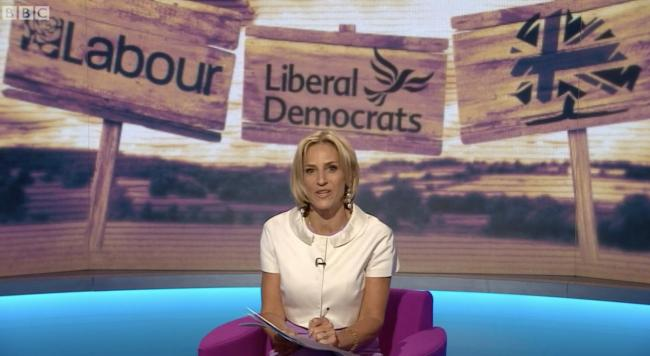 Presenter Emily Maitlis was in front of three logos ... but not the SNP's