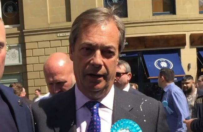 Farage was 'milkshaked' during a walkabout in Newcastle