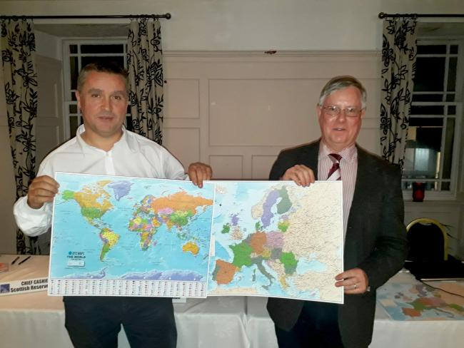 Angus MacNeil, left, accepted 36 copies of the maps for the SNP MPs
