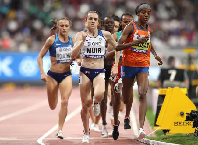 Laura Muir keeps Sifan Hassan in her sights, but the Dutch runner was just too fast as she won gold in the 1500m