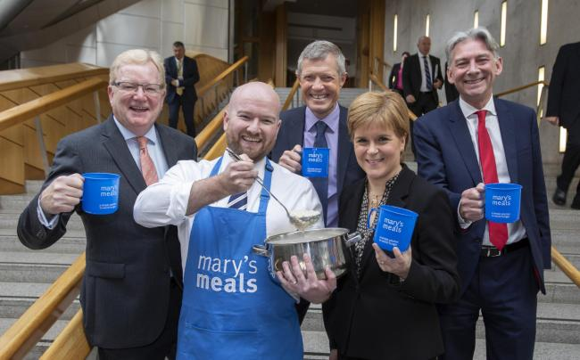 Left to right, Jackson Carlaw MSP, executive director of Mary's Meals Daniel Adams,Willie Rennie MSP, First Minister Nicola Sturgeon and Richard Leonard MSP