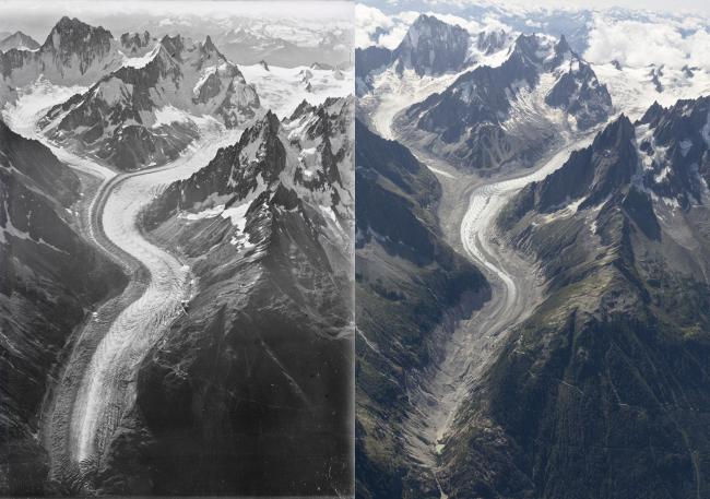The images taken by famed pilot Walter Mittelholzer in his biplane were recreated 100 years on – and showed the impact of climate change