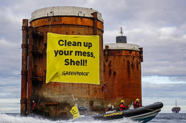 Greenpeace International said activists from the Netherlands, Germany and Denmark had boarded Shell's Brent Alpha and Bravo platforms