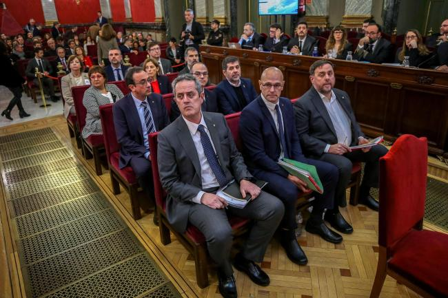 Former Catalan indyref leaders at their trial at the Supreme Court in Madrid