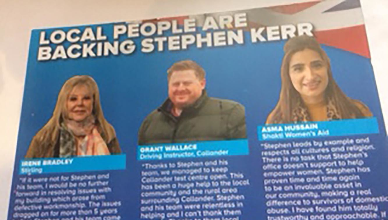 Tory MP Stephen Kerr pulps campaign leaflets after women's aid row