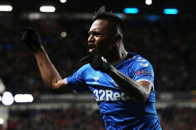 Alfredo Morelos celebrates after breaking the deadlock against Porto for Rangers at Ibrox.